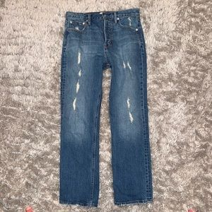 GAP High Waisted Straight Leg Distressed Jeans